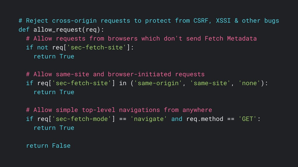 # Reject cross-origin requests to protect from ...