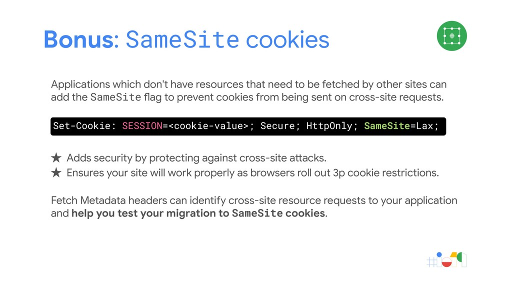 Bonus: SameSite cookies Applications which don'...