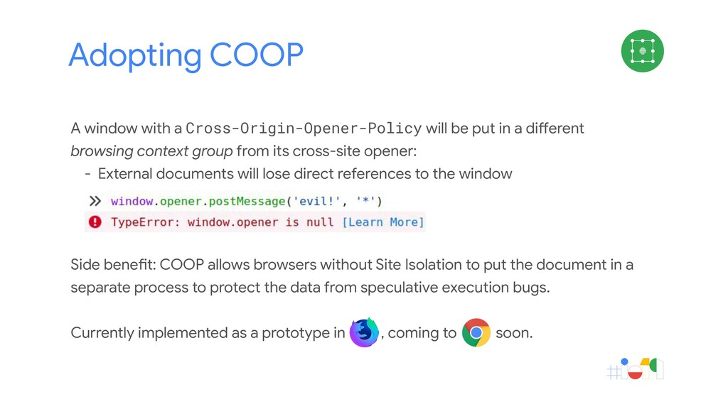 Adopting COOP A window with a Cross-Origin-Open...