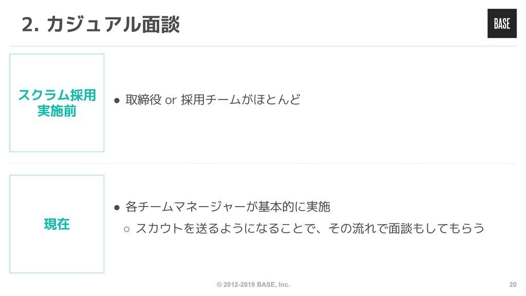 © 2012-2019 BASE, Inc. 20 2. カジュアル面談 ● 各チームマネージ...