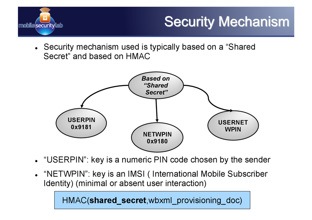  Security mechanism used is typically based o...