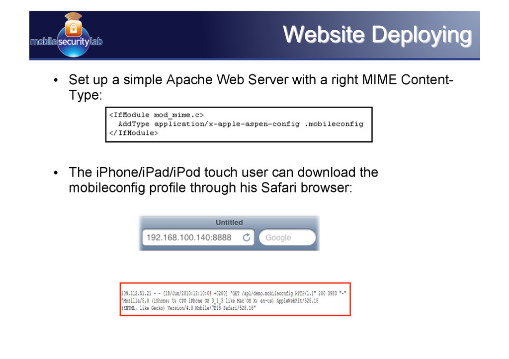 • Set up a simple Apache Web Server with a rig...