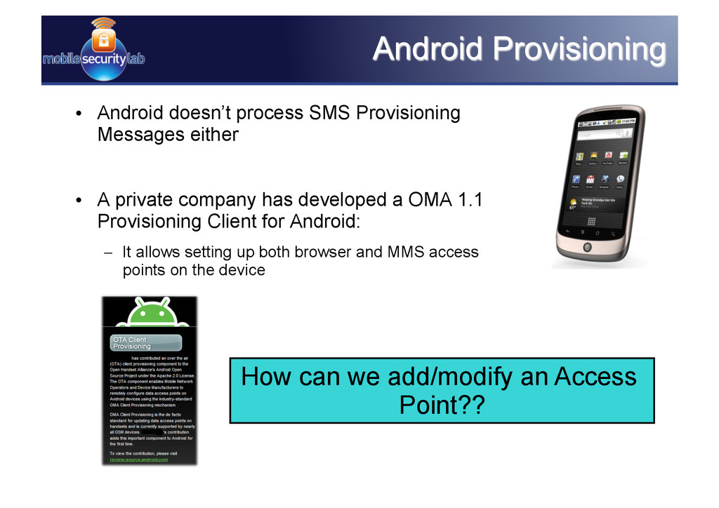 • Android doesn't process SMS Provisioning Mes...