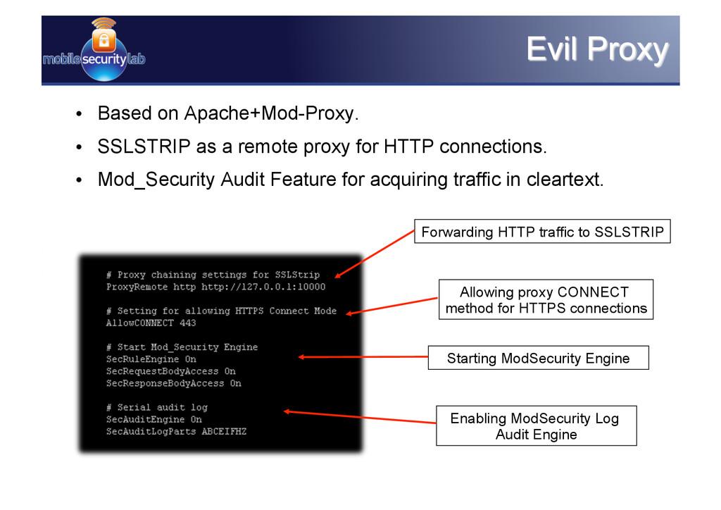 • Based on Apache+Mod-Proxy. • SSLSTRIP as a ...