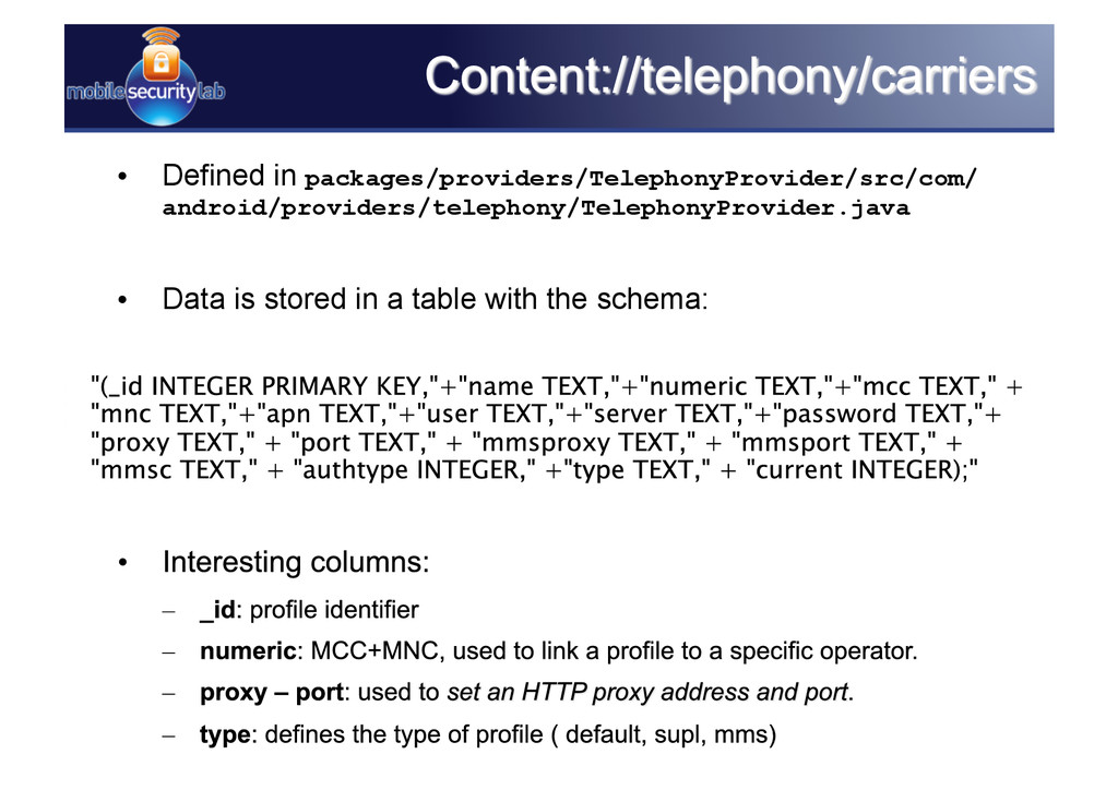 • Defined in packages/providers/TelephonyProvi...