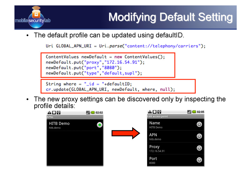 • The default profile can be updated using def...