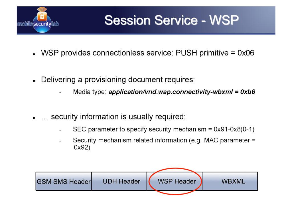  WSP provides connectionless service: PUSH pr...