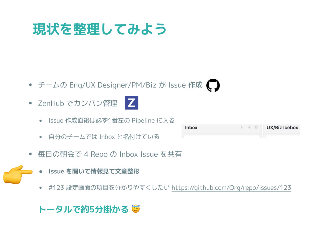 • チームの Eng/UX Designer/PM/Biz が Issue 作成 • ZenH...