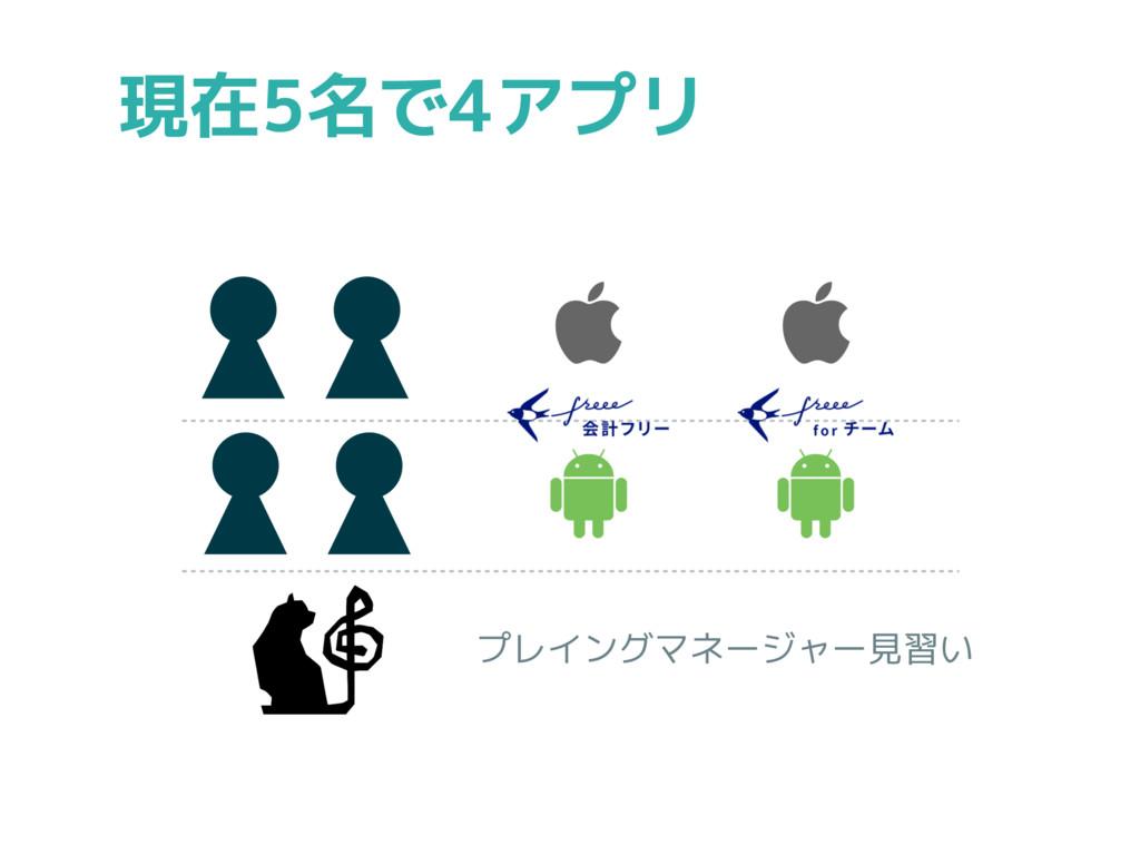 現在5名で4アプリ プレイングマネージャー見習い