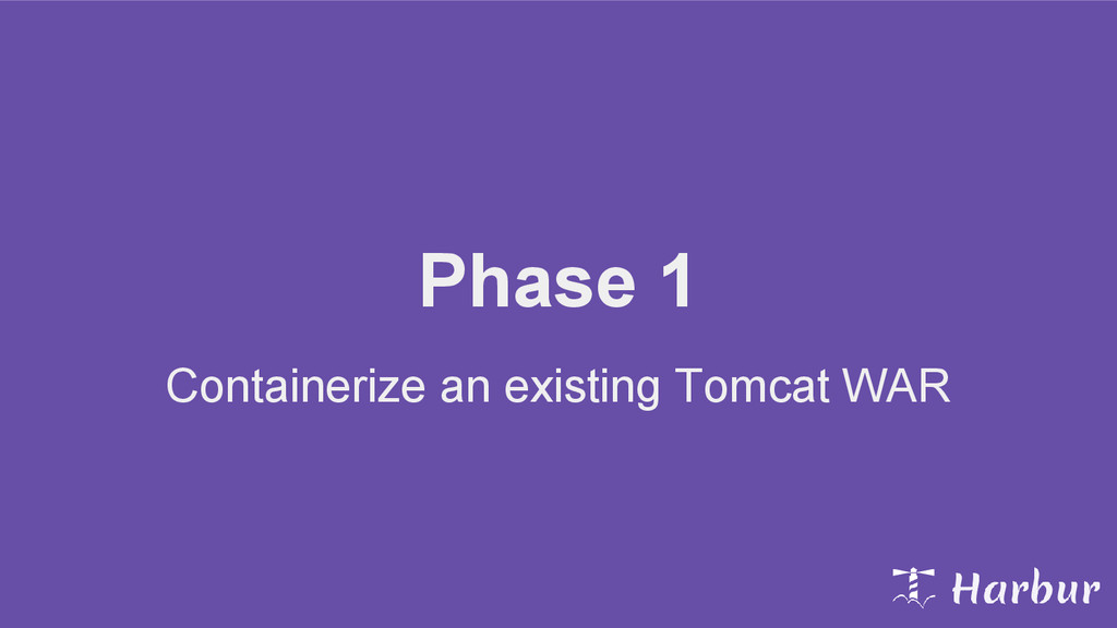 Phase 1 Containerize an existing Tomcat WAR