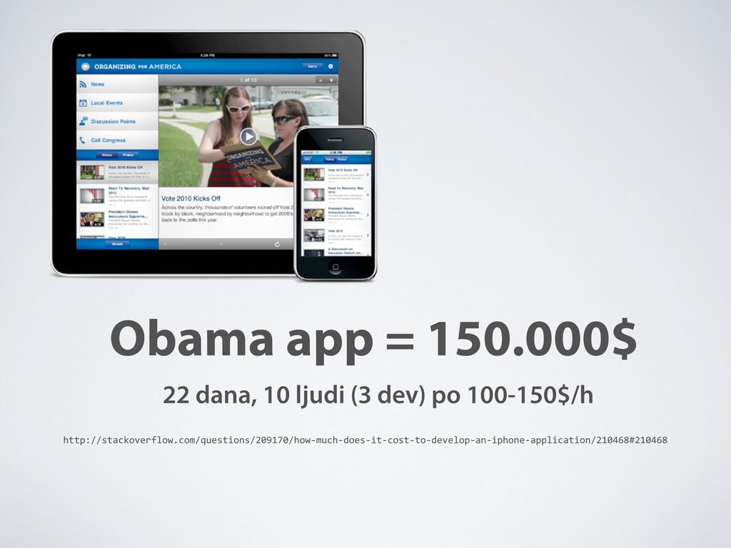 Obama app = 150.000$ 22 dana, 10 ljudi (3 dev) ...