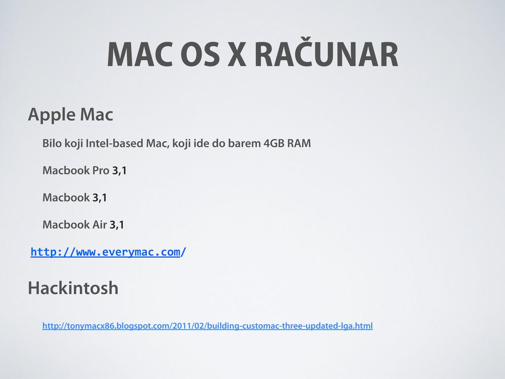 MAC OS X RAČUNAR Apple Mac Bilo koji Intel-base...