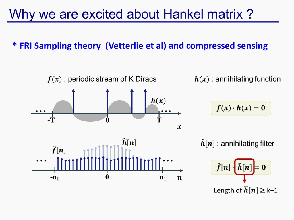 Why we are excited about Hankel matrix ? T -T 0...
