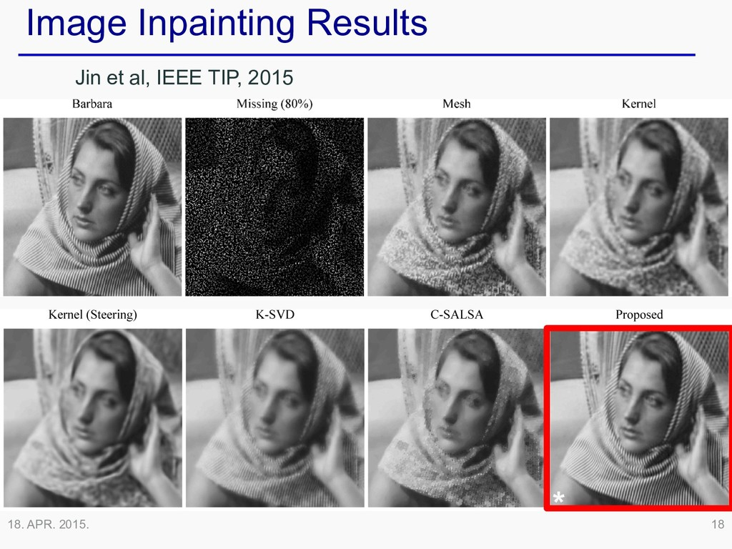 18. APR. 2015. 18 * Image Inpainting Results Ji...