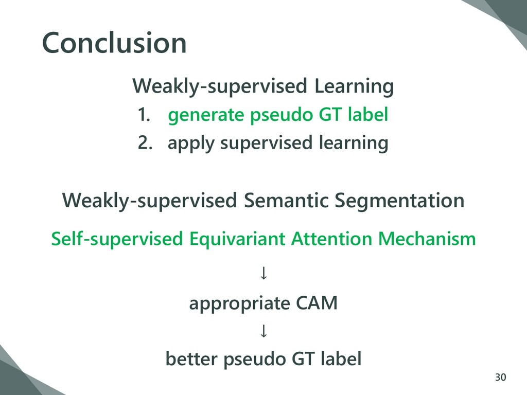 Conclusion Weakly-supervised Learning 1. genera...