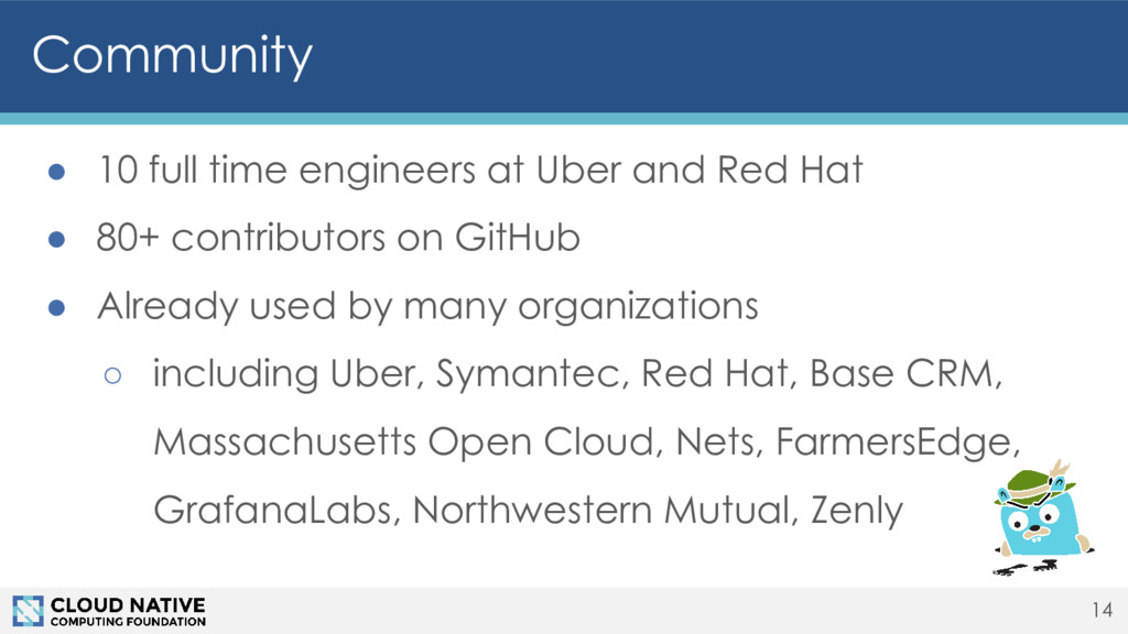 Community ● 10 full time engineers at Uber and ...