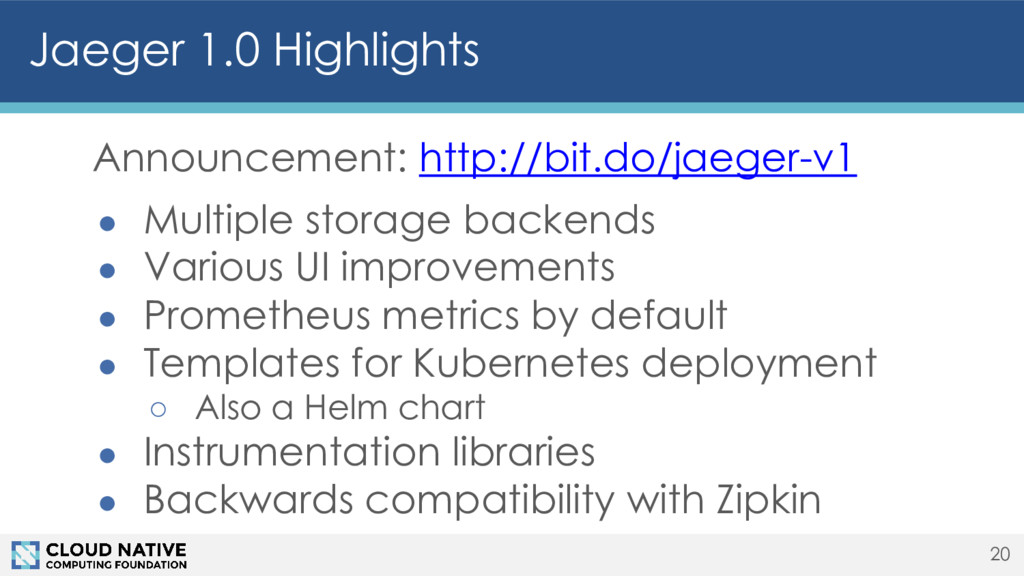 Jaeger 1.0 Highlights Announcement: http://bit....