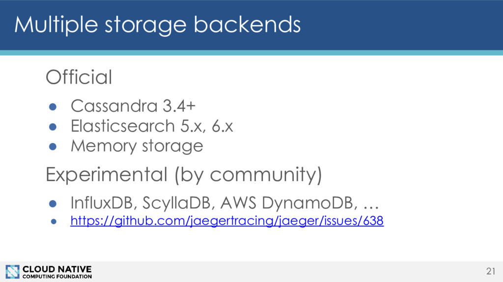 Official ● Cassandra 3.4+ ● Elasticsearch 5.x, ...