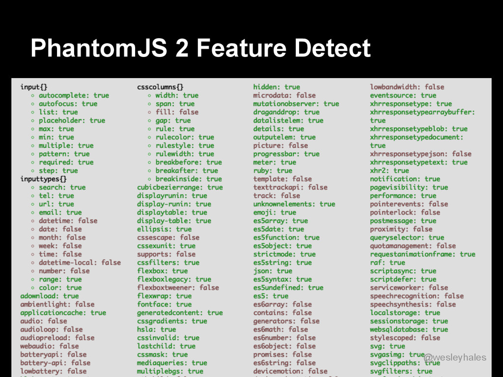 PhantomJS 2 Feature Detect @wesleyhales