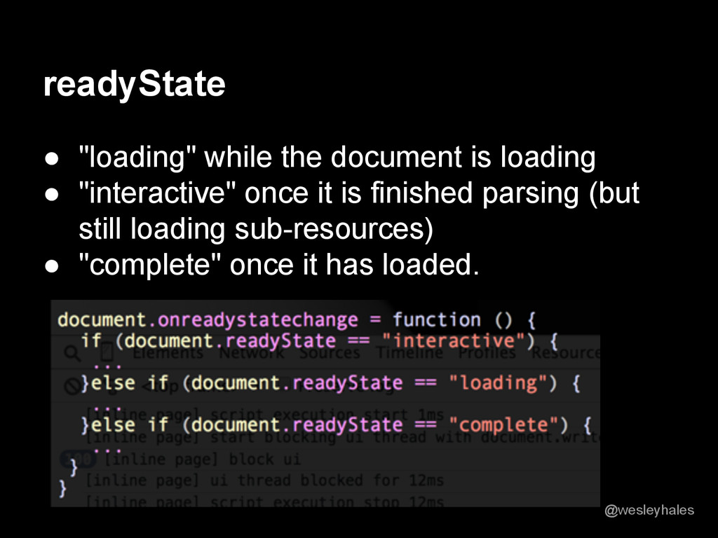 "readyState ● ""loading"" while the document is lo..."