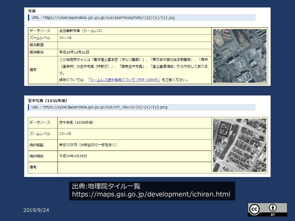 2019/9/24 出典:地理院タイル一覧 https://maps.gsi.go.jp/de...