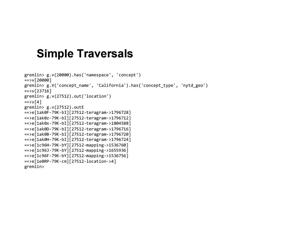 Simple Traversals gremlin> g.v(20000).has('n...