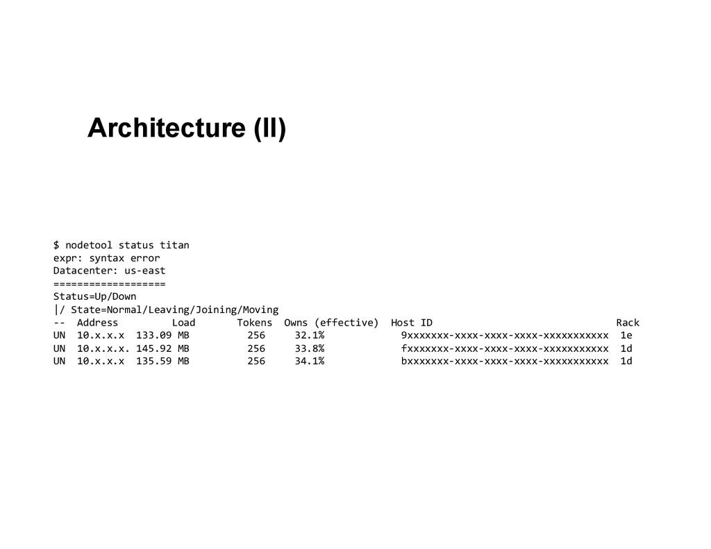 Architecture (II) $ nodetool status ti...