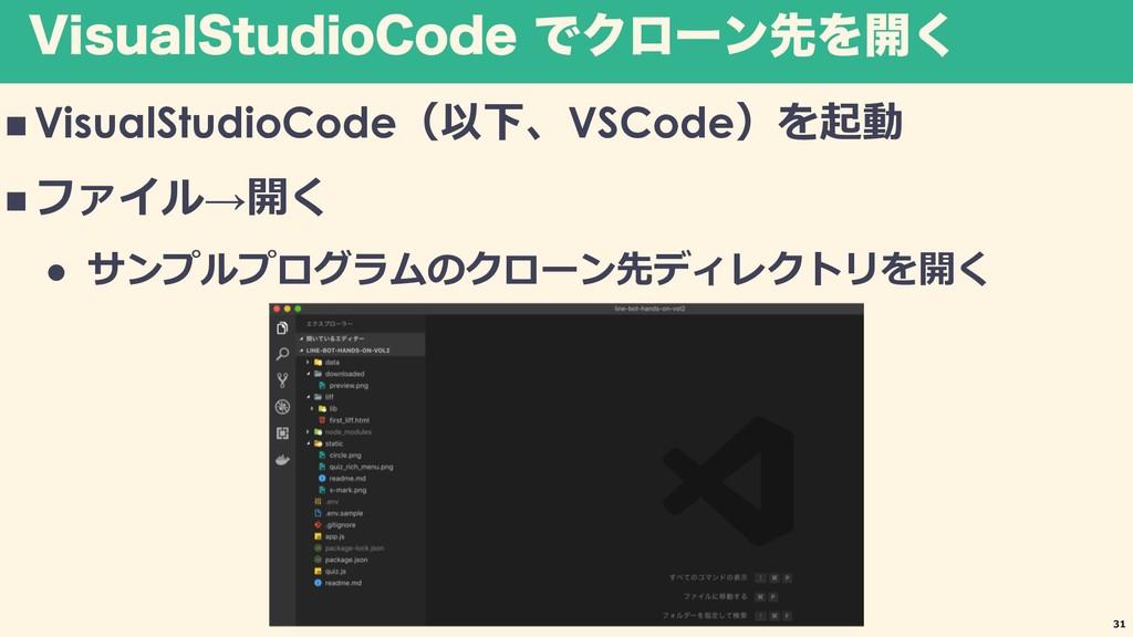 7JTVBM4UVEJP$PEF ͰΫϩʔϯઌΛ։͘ n VisualStudioCode V...