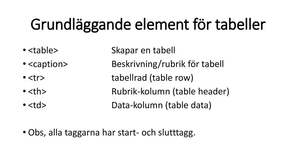 Grundläggande element för tabeller • <table> Sk...