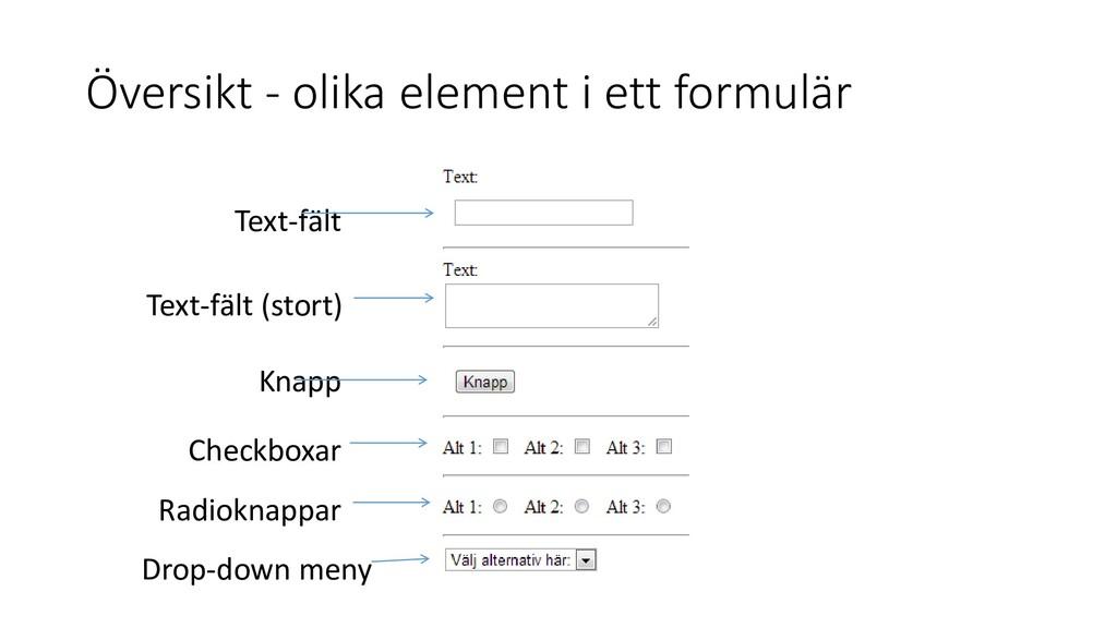 Översikt - olika element i ett formulär Knapp T...