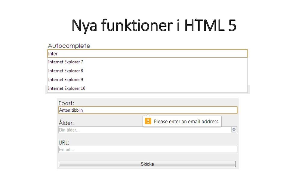 Nya funktioner i HTML 5