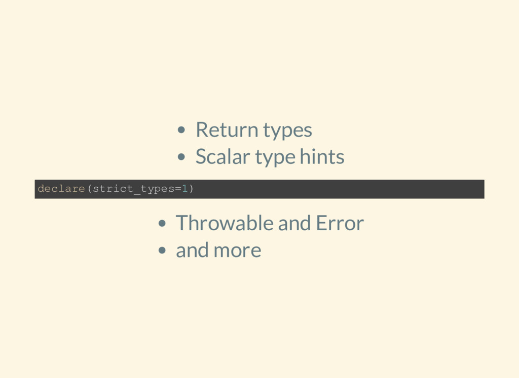 Return types Scalar type hints Throwable and Er...
