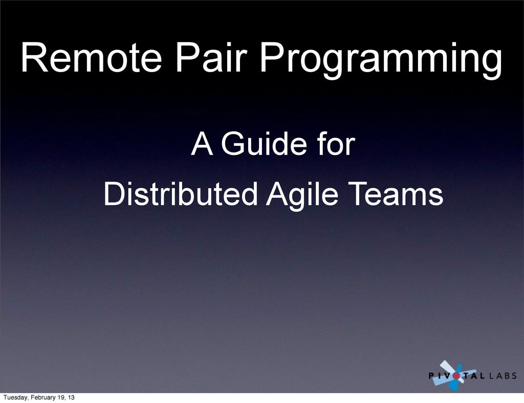 Remote Pair Programming A Guide for Distributed...