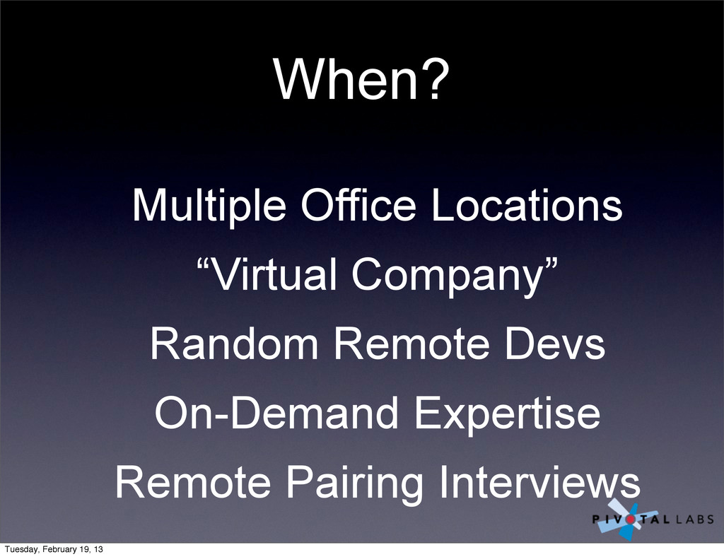 """When? Multiple Office Locations """"Virtual Compan..."""