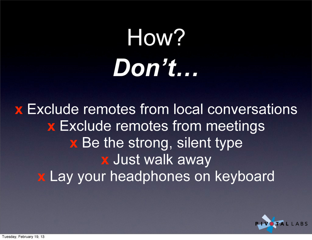 x Exclude remotes from local conversations x Ex...