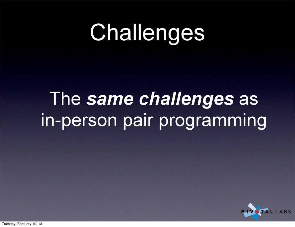 Challenges The same challenges as in-person pai...
