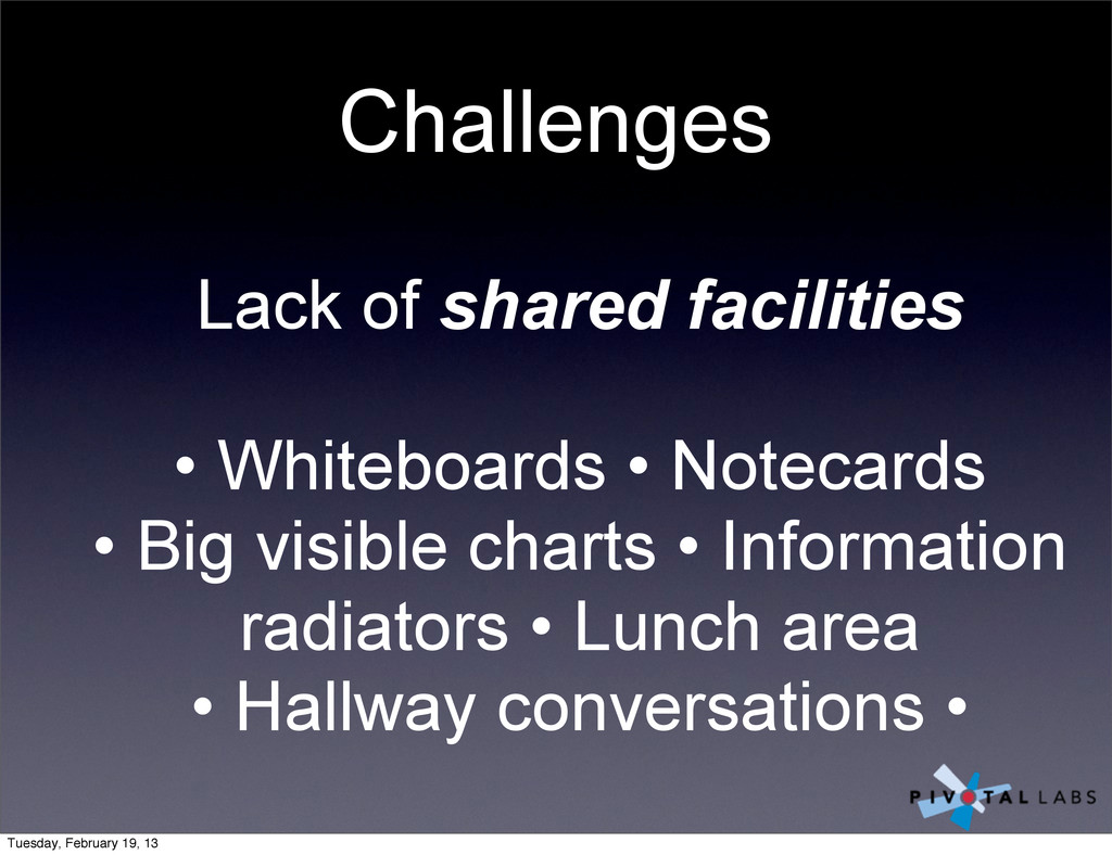 Challenges Lack of shared facilities • Whiteboa...