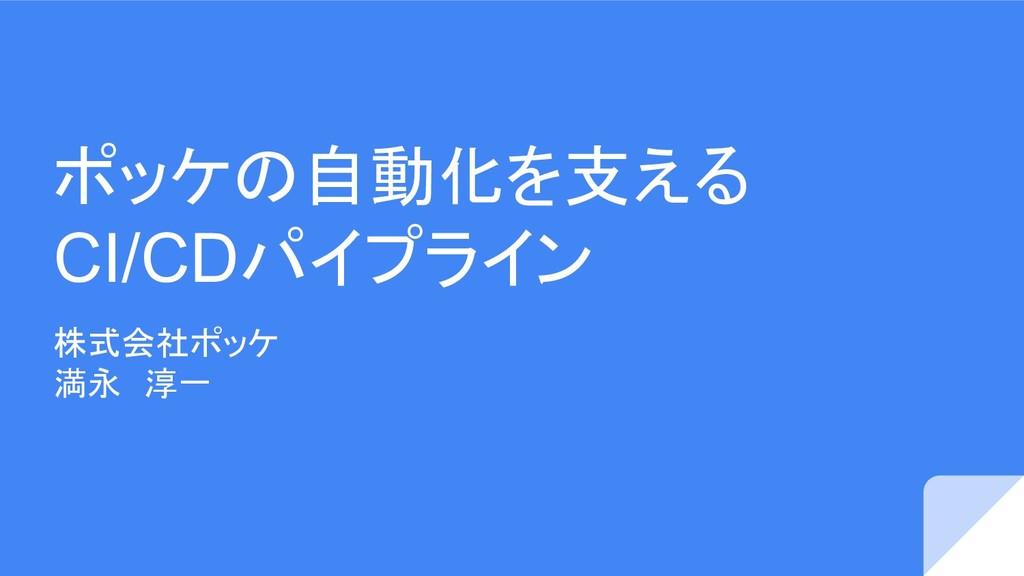 ポッケの自動化を支える CI/CDパイプライン 株式会社ポッケ 満永 淳一