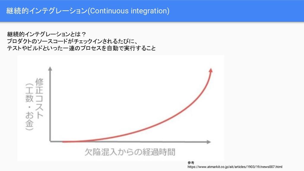 継続的インテグレーション(Continuous integration) 継続的インテグレーシ...