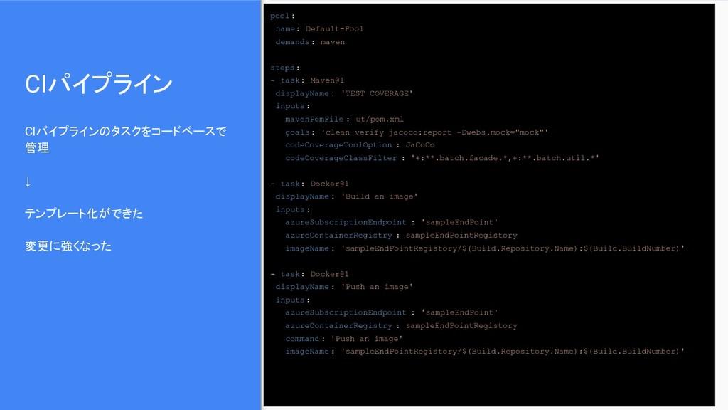 CIパイプライン CIパイプラインのタスクをコードベースで 管理 ↓ テンプレート化ができた ...
