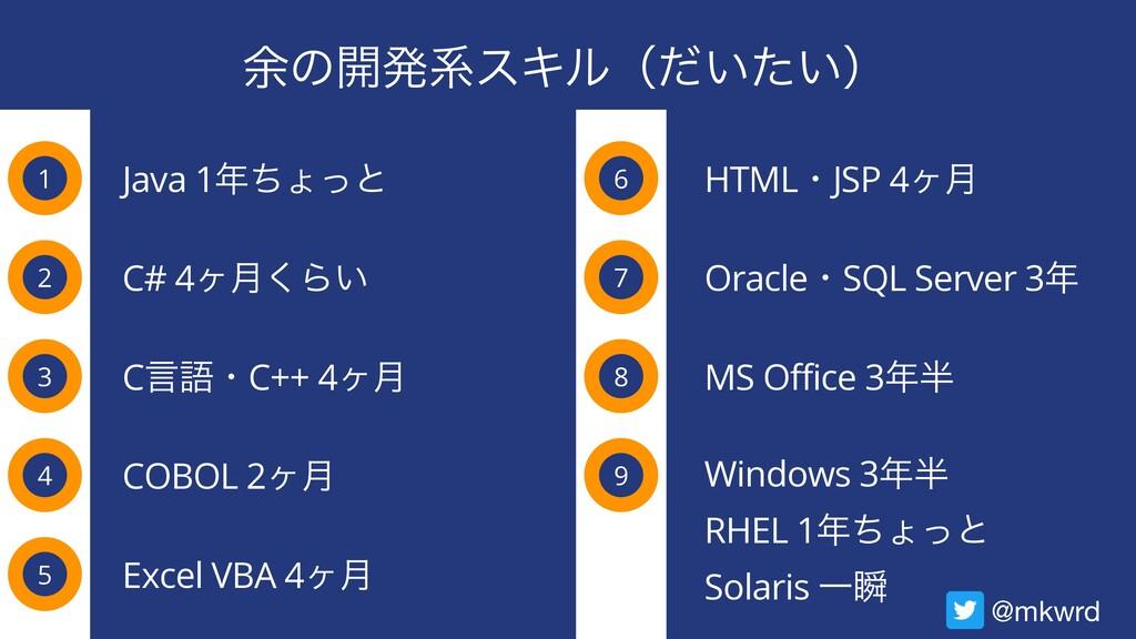 ༨ͷ։ൃܥεΩϧʢ͍͍ͩͨʣ 1 Java 1ͪΐͬͱ 2 3 4 C# 4ϲ݄͘Β͍ Cݴ...
