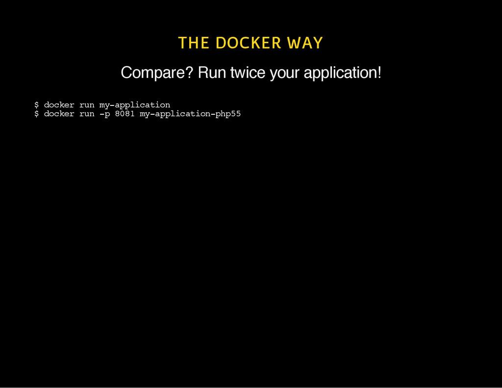 THE DOCKER WAY Compare? Run twice your applicat...