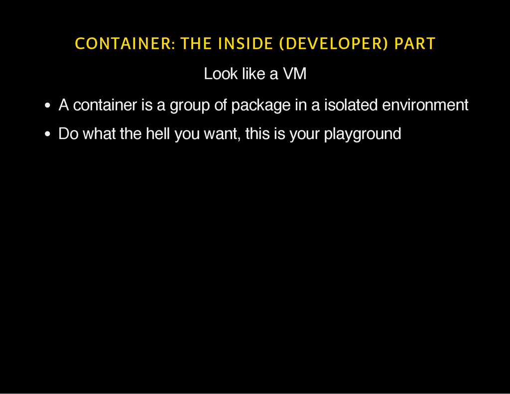 CONTAINER: THE INSIDE (DEVELOPER) PART Look lik...