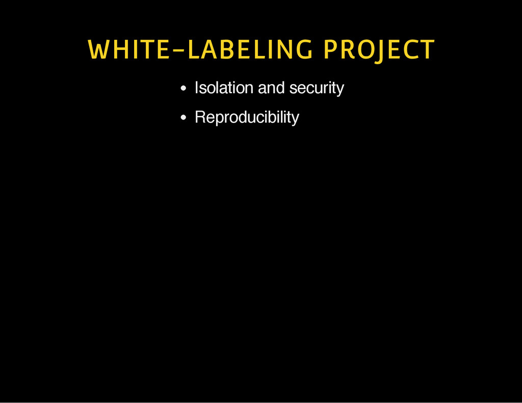 WHITE-LABELING PROJECT Isolation and security R...