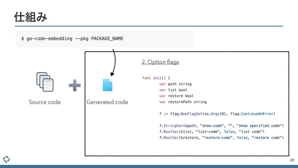 20 Έ Source code Generated code 2. Option flags