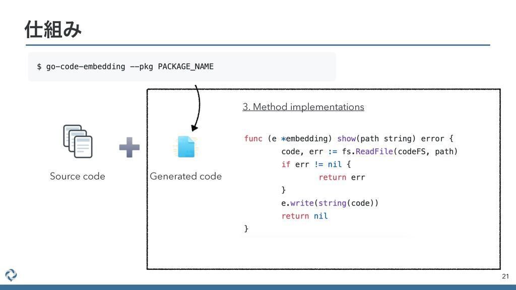 21 Έ Source code Generated code 3. Method imp...