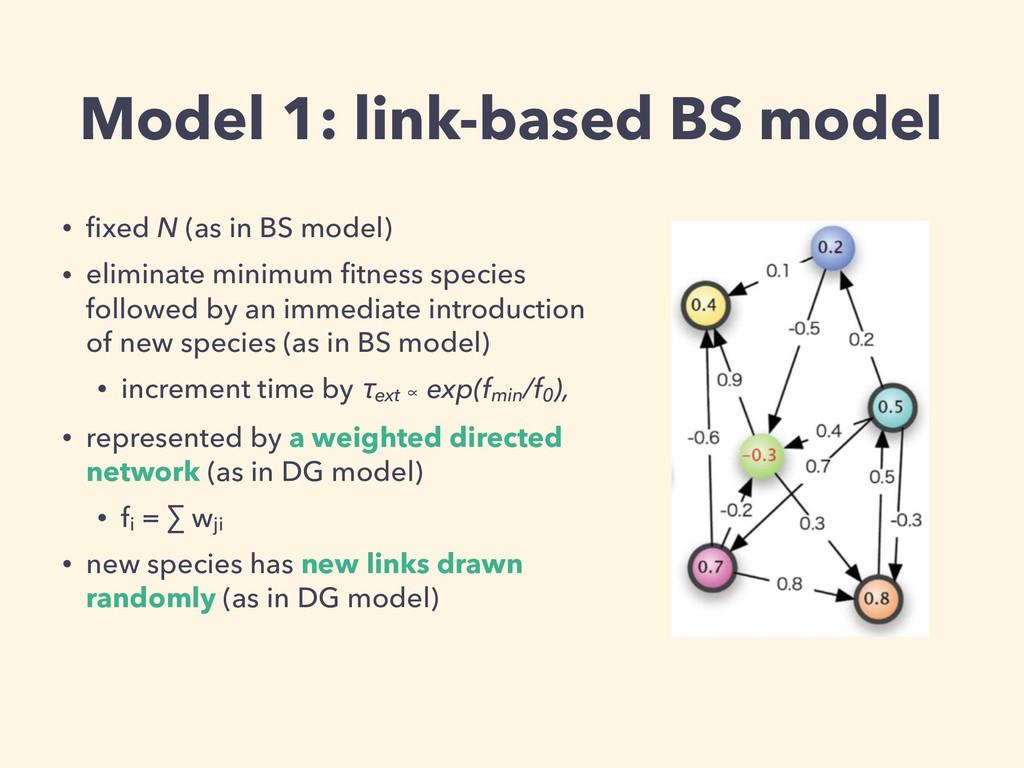 Model 1: link-based BS model • fixed N (as in BS...