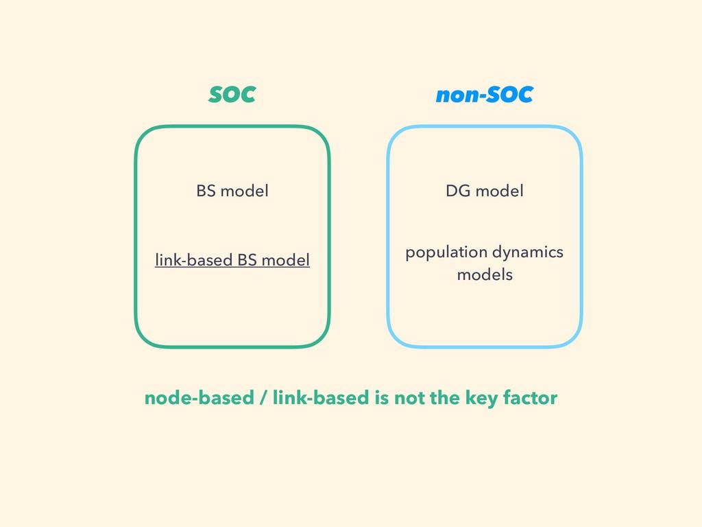 SOC non-SOC BS model DG model link-based BS mod...