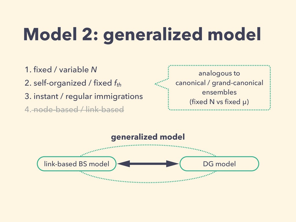 Model 2: generalized model 1. fixed / variable N...