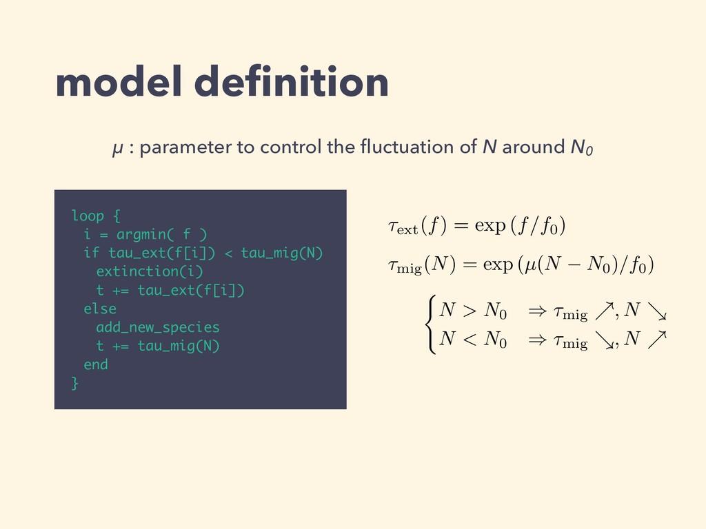 model definition loop { i = argmin( f ) if tau_e...